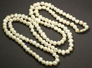 """Elegant Handmade EXTRA LONG Cultured Freshwater Baroque Pearl Bead Necklace 37"""""""