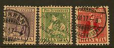 SWITZERLAND:1917 Children's Fund ( Pro Juventute)  set SG J6-8 used