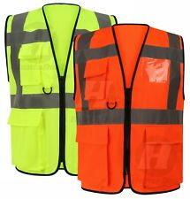 High Visibility Hi Viz Reflective Safety Vest Work Executive Pockets Zip Front