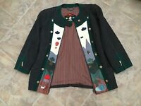 Ladies All Wool Appliqué & Decorated Vintage Swiss Jacket. ONE OFF design.