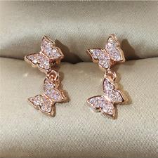 Gorgeous White Sapphire CZ Butterfly Dangle Earrings 925 Silver Wedding Jewelry