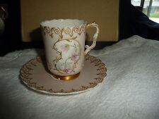 #523X vtg porcelain Demitasse / miniature  cup & Saucer Hand painted