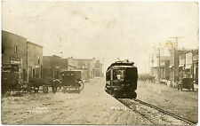RPPC SD South Dakota Volin Fantasy Trolley Running Through Business Section 1912