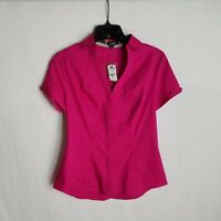 Express Womens Fushcia Pink Button Front Short Sleeve Shirt Size XS $39.90 Y101