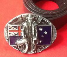 AUSTRALIAN FLAG COWBOY LASSO RANCHER OUTBACK AUSSIE BUCKLE LEATHER BELT
