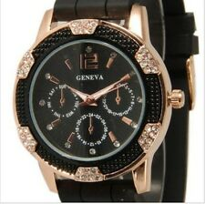Geneva Women's Crystal Rhinestones watch with Chronograph Silicone Strap RGBlack