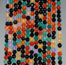 4MM PARTY MIX AGATE GEMSTONE MULTICOLOR FACETED ROUND LOOSE BEADS 15""