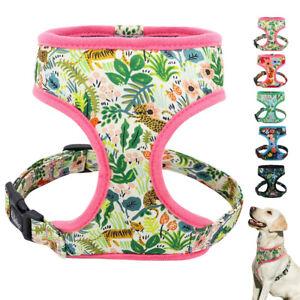 Cute Floral Small Medium Dog Harness Soft Mesh Fabric Pet Vest Jack Russell Pug
