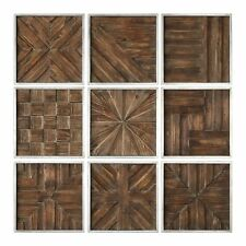 Rustic Wood Panel Wall Art Collage | Set 9 Square Mid Century Modern