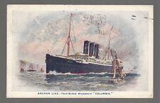 "[49217] 1920 SHIP POSTCARD ANCHOR LINE TWIN-SCREW STEAMSHIP ""COLUMBIA"""