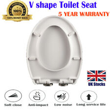 Toilet Seat Slow Close Easy Clean V Shape Durable Quick Release Metal Hinges Loo