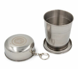 UST 8.5oz Heritage Stainless Steel Collapsible Portable Drinking Cup With Clip