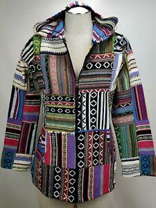 Rising International Nepal Hoodie Boho Hippie Patchwork Jacket Small Colorful