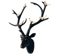 Black Stag Head With Gold Birds Wall Mounted Deer Antlers Show Piece Modern Deco
