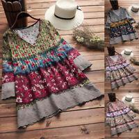 Boho Womens 3/4 Sleeve V Neck Loose Blouse Shirt Autumn Shirt Tops Shirt S-5XL W