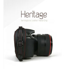 Herringbone Heritage Genuine Leather Camera Hand Grip Red Stitch Strap