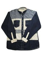 Private Member Men's Long Sleeve Blue Check Pearl Button Shirt Size L