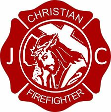 Cross Jesus Christ Firefighter Christian Fireman Car Truck Window Vinyl Decal