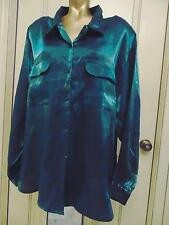 Plus Size 24W Dark Green Shimmer Holiday Shirt Dressy Rayon Top Red Hot Plus