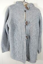Zara Knit Girls Large Sweater Jacket Cable Knit Fleece Lined Sherpa Gray Euc