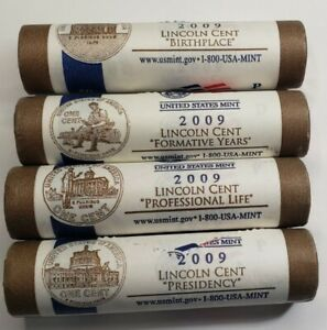2009 MIXED US Mint Wrapped Lincoln Penny 4 Rolls Set
