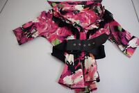 bebe Cotton Blend Multi-Colored Floral Laced Belted Top Size - Small