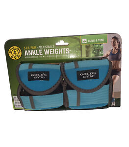 Golds Gym 5lb Pair Adjustable Ankle Weights Blue New