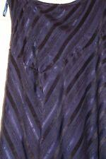 Ladies Purple Per Una M&S Full Length Maxi Skirt Size 12 Flared Satin Stripe