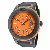 Jacques Lemans Men's Miami 50mm Orange and Black Dial Silicone Watch