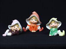 Vintage Homco Pixie Elf Figurine Elves Fairies Gnome Shelf Sitters 3 Figurines