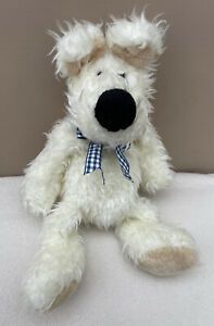 Jellycat Westie Dog Cream With Blue Checked Bow Collar Vintage Retired