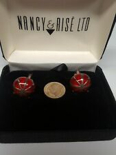 Vintage Nancy & Rise ltd sterling silver & red enamel cufflinks