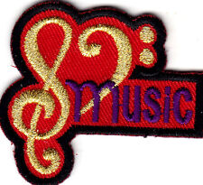 """MUSIC"" w/GOLD MUSIC NOTES - Iron On Embroidered Patch/Rock N'Roll, Jazz, Band"