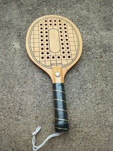 Vintage Wooden Pickleball Paddle 1980s Drilled Holes Taiwan