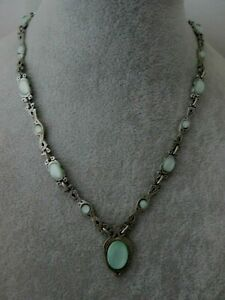 Vintage Signed MIRACLE Pendant Necklace Green Moonstone Celtic Link Silver Tone