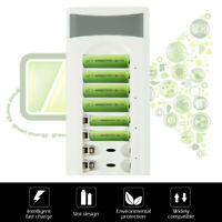 8 Slots Smart Fast Rechargeable Battery Charger AA/AAA Ni-MH/Ni-Cd Batteries oz
