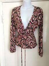 Next size 10 pink mix geometric low neck tie waist long sleeve top
