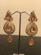 Earrings Champagne Imitation Stones Nwot Fancy Gold Indian