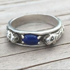 Medieval LION Ring .925 Sterling SILVER sz 11 with Natural Lapis Lazuli gemstone