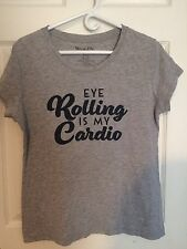 Women's Funny Workout Graphic T Shirt Eye Rolling Is My Cardio XXL 2XL
