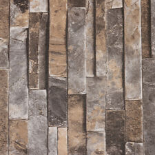 10M wallpaper 3D Brick STONE Natural Colour Slate outdoor rustic look Grey Color