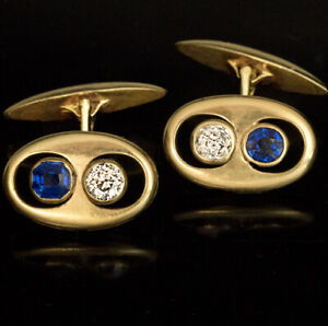 Blue Sapphire & Diamond Art Deco 14k YellowGold Over Cufflinks For Men's Jewelry