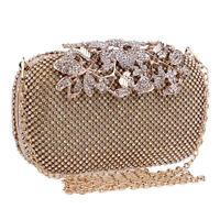 Evening Clutch Bag Crystal Rhinestone Flower Bridal Wedding Handbag Purse Women