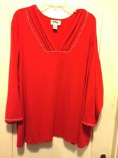 Lovely Bob Mackie Red Lightweight Knit Top LS Pearl Trim V-Neck 5X  New