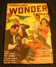 1940 Nov THRILLING WONDER STORIES Pulp Magazine v.18 #2 GD+ 2.5 Dinosaur Cover