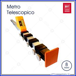 Metro misuratore con asta telescopica in alluminio misura fino 8 metri altezza