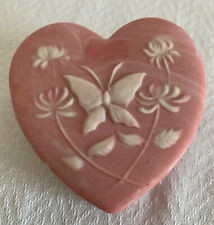 Pink heart shaped soapstone trinket box with butterfly, By Design Gifts