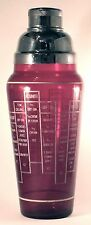 VINTAGE RECIPE COCKTAIL SHAKER RUBY RED GLASS WITH CHROME CENTER-POUR LID