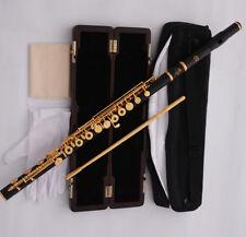 Professonial Ebony Gold Plated C# Trill Flute Open hole B foot Split E Wood Case