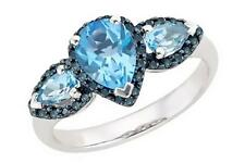 Pear-Shaped Swiss Blue Topaz 3 Stone and Sapphire Ring in Sterling Silver Size 7